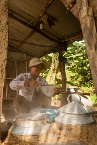 A villager at Pheam Ek makes rice paper. Picture: Chris Mann
