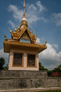 The memorial to victims of the Khmer Rouge regime at Wat Wamrong Knong. Picture: Chris Mannolini.