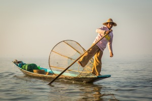 A fisherman on Inle Lake, in the Shan state of Myanmar. Picture: CHRIS MANNOLINI