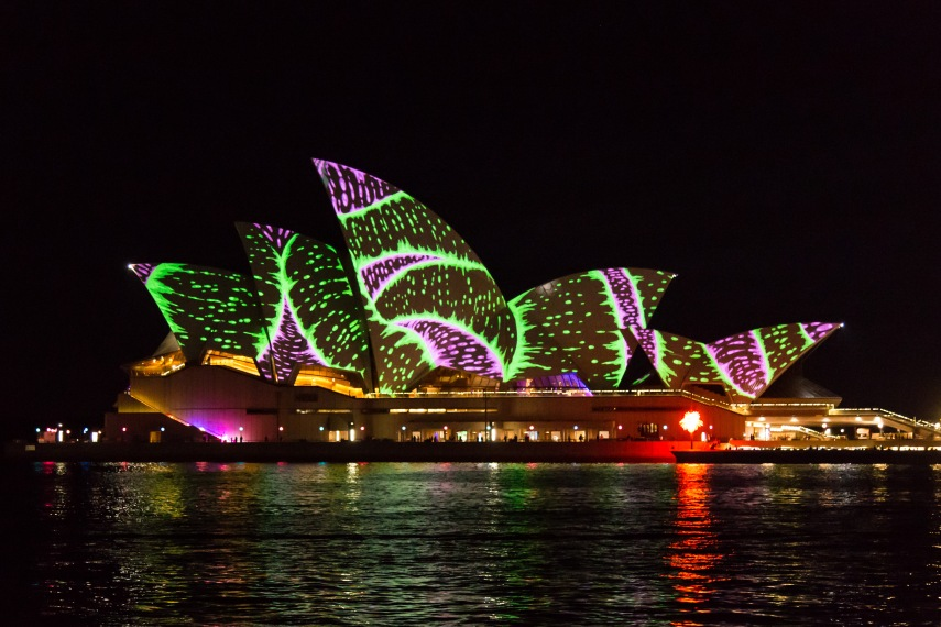 A psychedelic Sydney Opera House during Vivid. Picture: Chris Mannolini