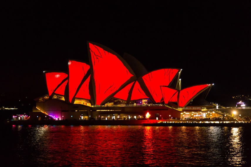 Sydney opera House lit up during the Vivid festival. Picture: Chris Mannolini