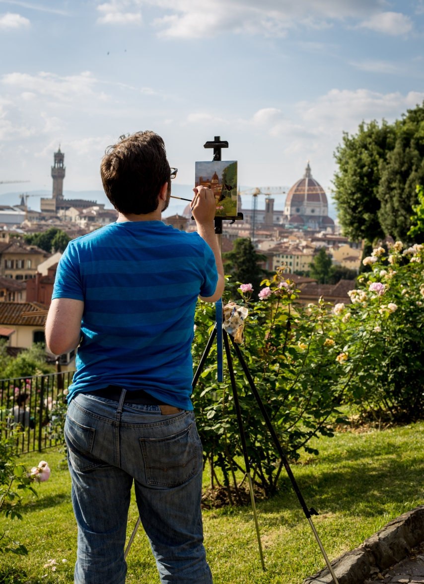 Painting the Duomo. From the Giardino di Bardini.