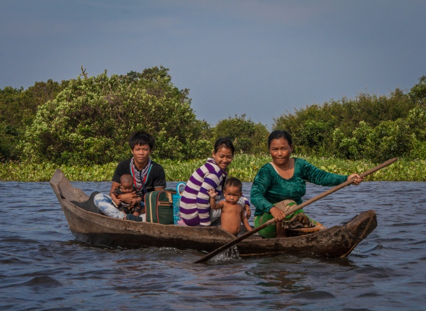 More passengers on the way out to the riverboat along the Sangkae river between Siem Reap and Battambang, Cambodia. Picture: Chris Mannolini