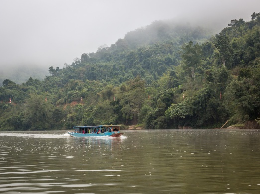 Boat trip along the Nam Ou river in northern Laos.