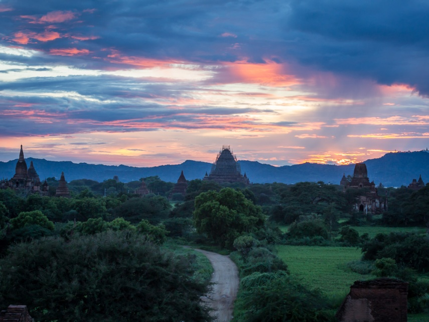 Sunset from atop Shwesandaw pagoda in Bagan, Myanmar. Picture: Chris Mannolini.